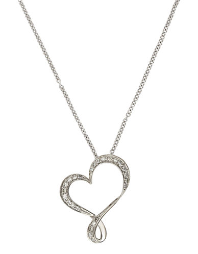 Effy Pave Classica 14 Kt White Gold Diamond Heart Pendant-DIAMOND-One Size