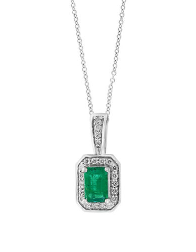 Effy 0.13 TCW Diamond, Natural Emerald & 14K White Gold Pendant Necklace-GREEN-One Size