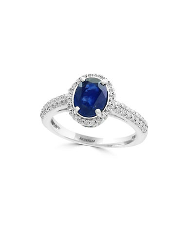 Effy 0.35 TCW Diamond, Sapphire and 14K White Gold Ring-BLUE-7