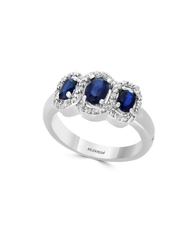 Effy 0.21 TCW Diamond, Natural Sapphire & 14K White Gold Ring-BLUE-7