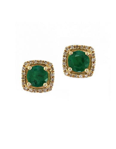 Effy 14K Yellow Gold Natural Emerald Earrings with 0.12TCW Diamonds-EMERALD-One Size