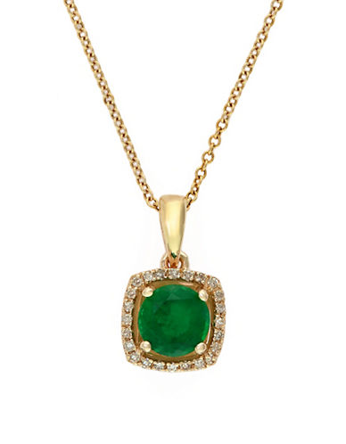 Effy 14K Yellow Gold Natural Emerald Pendant Necklace with 0.07TCW Diamonds-EMERALD-One Size