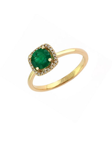 Effy 14K Yellow Gold Natural Emerald Ring with 0.07TCW Diamonds-EMERALD-7