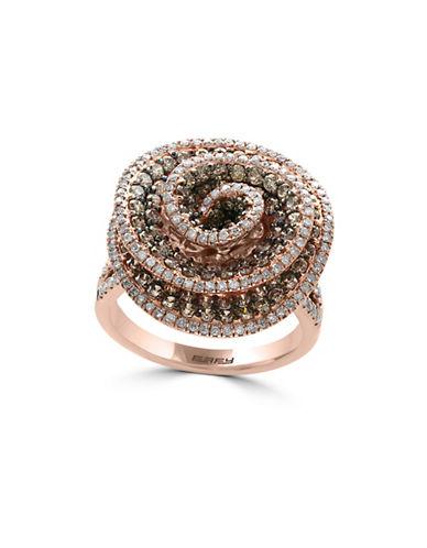 Effy 2.21 TCW Espresso and White Diamond Embellished 14K Rose Gold Ring-ROSE GOLD-7