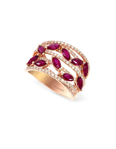 Effy 14K Rose Gold Ruby Ring with 0.46 TCW Diamonds-RUBY-7