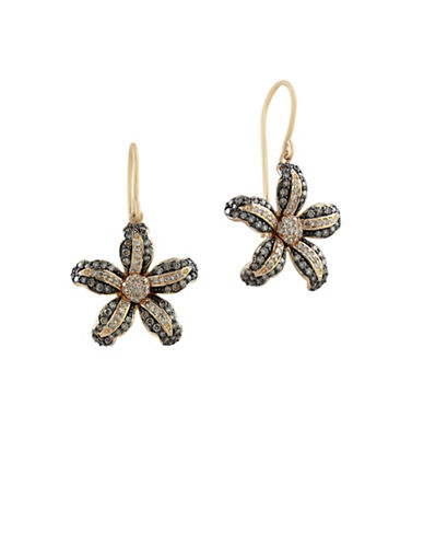 Effy 0.89 TCW White and Espresso Diamond 14K Yellow Gold Flower Hook Earrings-DIAMOND-One Size