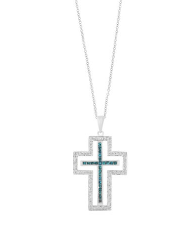 Effy 14K White Gold Cross Pendant Necklace with 1.05 TCW White and Blue Diamonds-BLUE-One Size