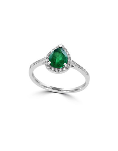Effy Emerald, 14K White Gold and 0.15 TCW Diamond Teardrop Ring-EMERALD-7