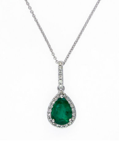 Effy 14K White Gold Natural Emerald Pendant Necklace 0.12TCW Diamonds-EMERALD-One Size