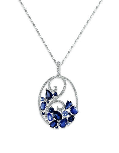 Effy 14K White Gold Pendant Necklace with Ceylon Sapphire and 0.35 TCW Diamonds-SAPPHIRE-One Size