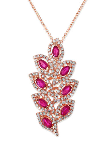 Effy 14K Rose Gold 0.56ct Diamond &1.37ct Natural Ruby Pendant-RUBY-One Size
