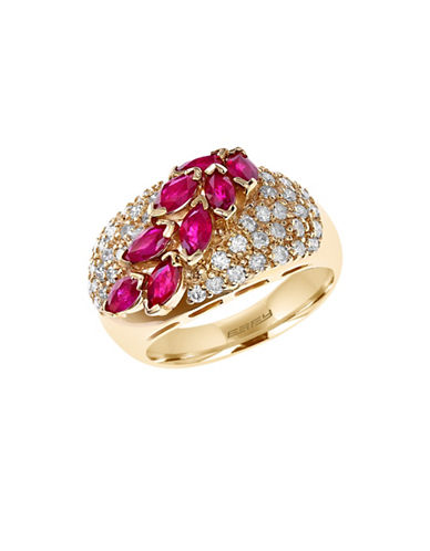 Effy 14K Yellow Gold 0.74ct Diamond and 1.75ct Natural Ruby Ring-RUBY-7