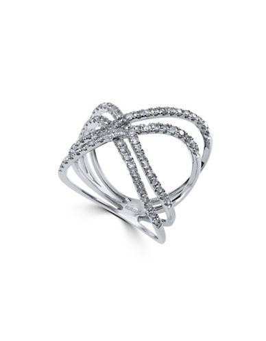 Effy 14K White Gold and 0.67TCW Diamond Crossover Ring-WHITE GOLD-7