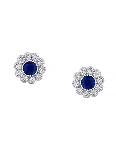 Effy 14 Karat White Gold and Sapphire Stud Earrings-SAPPHIRE-One Size