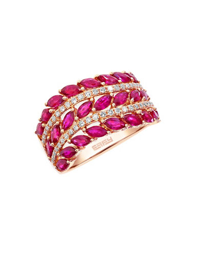 Effy 14K Rose Gold 0.20ct Diamond and 2.57ct Natural Ruby Ring-RUBY-7