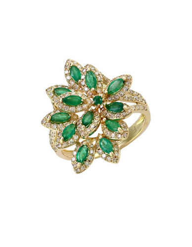 Effy 14k Yellow Gold Diamond Emerald Ring-EMERALD-7
