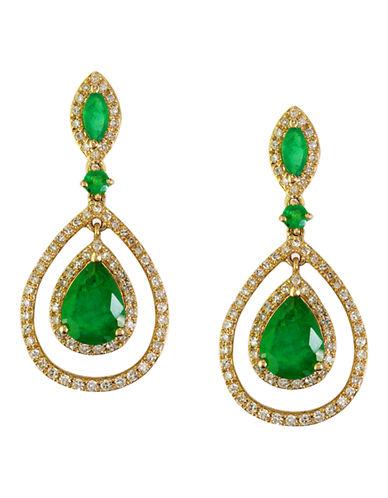 Effy 14K Yellow Gold Diamond Emerald Earrings-EMERALD-One Size