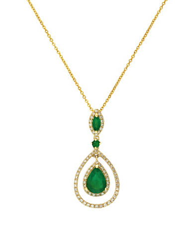 Effy 14K Yellow Gold Diamond Emerald Pendant-EMERALD-One Size