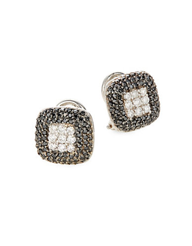 Effy 14K White Gold 0.96TCW Diamond and Black Diamond Stud Earrings-BLACK-One Size