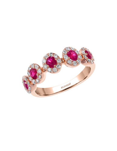 Effy 14K Rose Gold 0.3ct Diamond & 0.51ct Natural Ruby Ring-RUBY-7