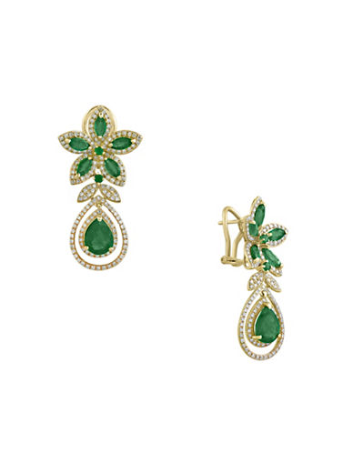 Effy 14K Yellow Gold Emerald and 1.26TCW Diamond Earrings-EMERALD-One Size