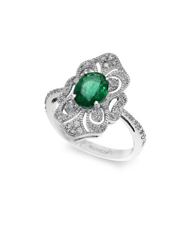 Effy 14K White Gold Cocktail Ring with Emerald and 0.32 TCW Diamonds-EMERALD-7