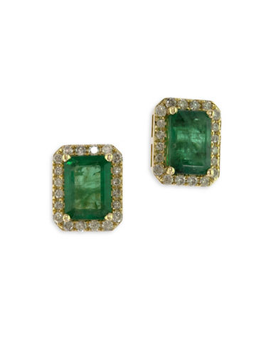 Effy 14K Yellow Gold Stud Emerald Earrings with 0.25 TCW Diamonds-EMERALD-One Size