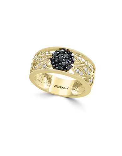 Effy 14K Yellow Gold and 0.48TCW Black Diamond Ring-BLACK-7