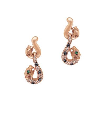 Effy 0.3 TCW White and Black Diamond and Emerald 14K Rose Gold Puma Drop Earrings-DIAMOND-One Size