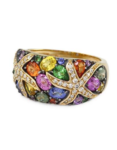 Effy Tsavorite Multicolour Sapphire and 14K Yellow Gold Ring with 0.22 TCW Diamonds-SAPPHIRE-7