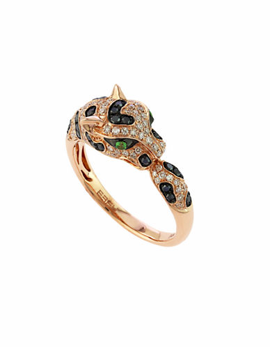 Effy 14k Rose Gold Diamond Black Diamond Tsavorite Ring-DIAMOND-One Size