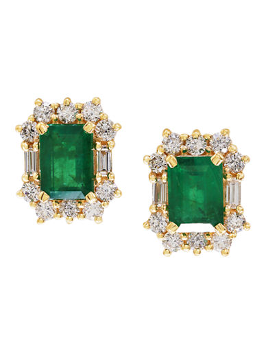 Effy 14k Yellow Gold Diamond Emerald Earrings-EMERALD-One Size