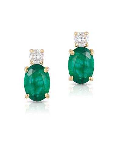 Effy 14K Yellow Gold Emerald Earrings with 0.016 TCW Diamonds-EMERALD-One Size