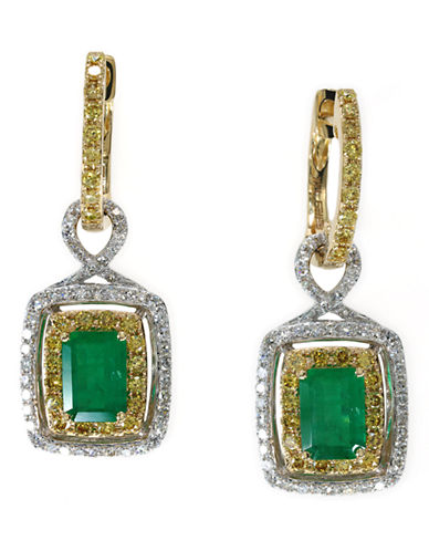 Effy 14k White and Yellow Gold Diamond Yellow Diamond Emerald Earrings-EMERALD-One Size