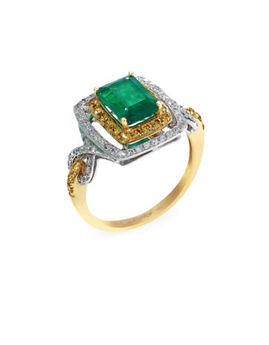 Effy 14k White and Yellow Gold Diamond Yellow Diamond Emerald Ring-EMERALD-7