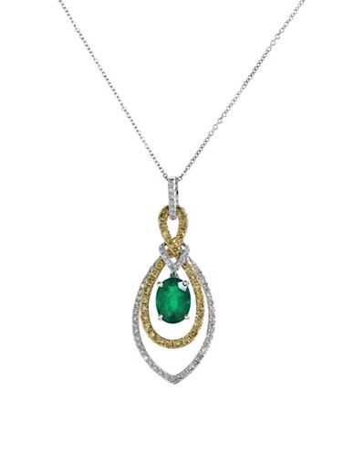Effy 14k White and Yellow Gold Diamond Yellow Diamond Emerald Pendant-EMERALD-One Size