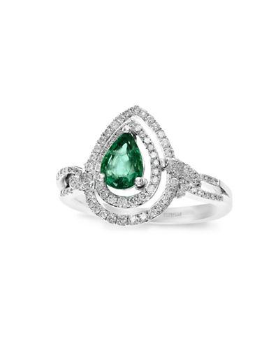 Effy 14K White Gold 0.32TCW Diamond and Emerald Ring-EMERALD-7