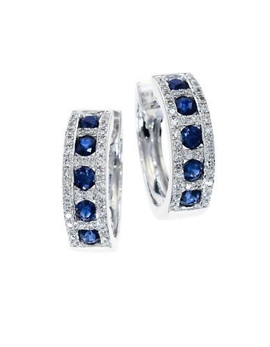 Effy 14K White Gold Diamond Sapphire Earrings-BLUE-One Size