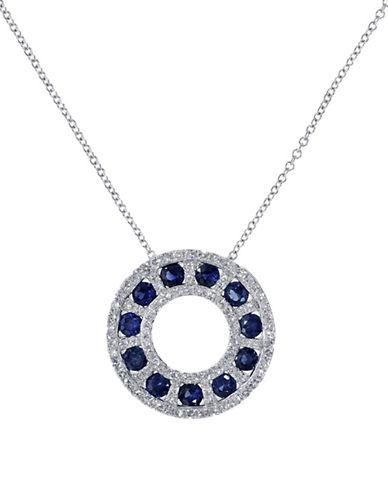 Effy 14K White Gold Diamond Sapphire Pendant-SAPPHIRE-One Size