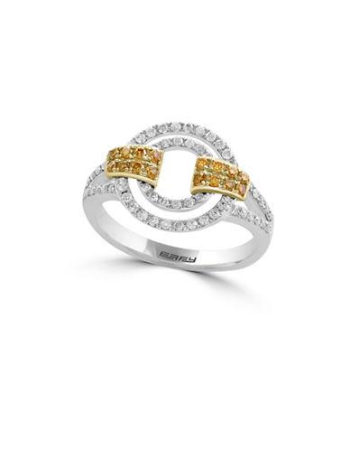 Effy 0.54 TCW Two-Tone Diamond 14K White and Yellow Gold Ring-YELLOW-7
