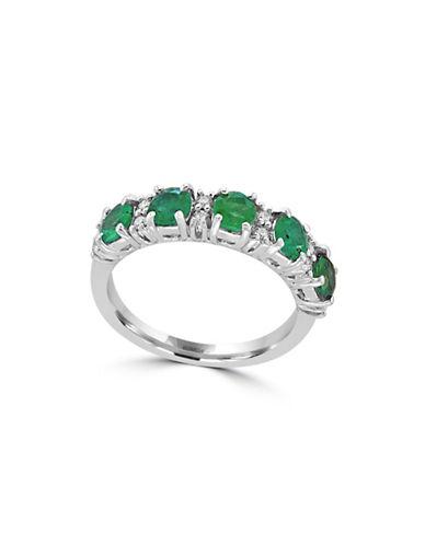 Effy 14K White Gold Emerald Ring with  0.18 TCW Diamonds-EMERALD-7