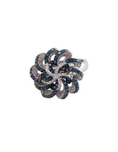 Effy 1.1 TCW Two-Tone Diamond, 14K White Gold Ring-BLUE-7