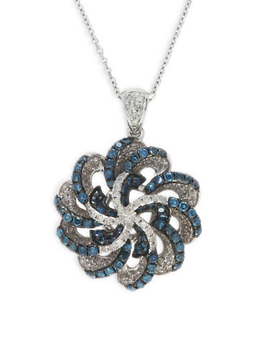 Effy 1.16 TCW Diamond, 14K White Gold Openwork Pendant Necklace-BLUE-One Size