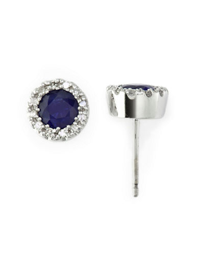 Effy 14K White Gold Diamond And Sapphire Earrings-SAPPHIRE-One Size