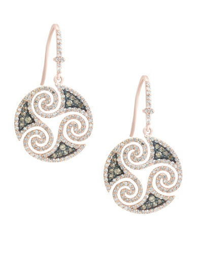 Effy 14K Rose Gold Studded Swirl Hook Earrings with 1.48 TCW White and Espresso Diamonds-ROSE GOLD-One Size