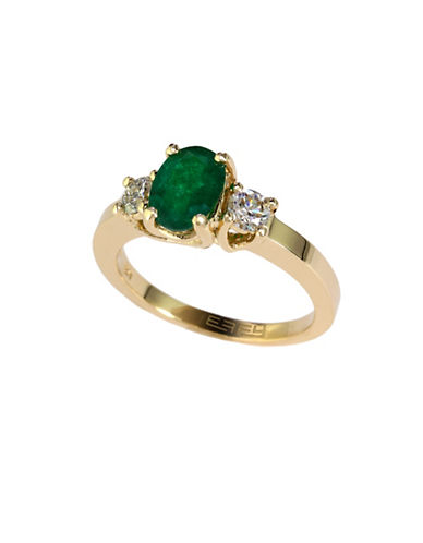 Effy 14K Yellow Gold Diamond and  Emerald Ring-EMERALD-One Size