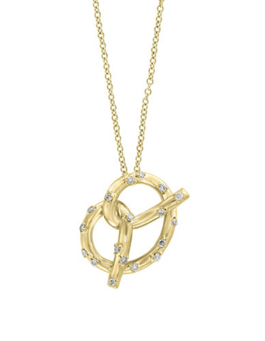 Effy 14K Yellow Gold Pretzel Necklace with 0.13 TCW Diamonds-GOLD-One Size