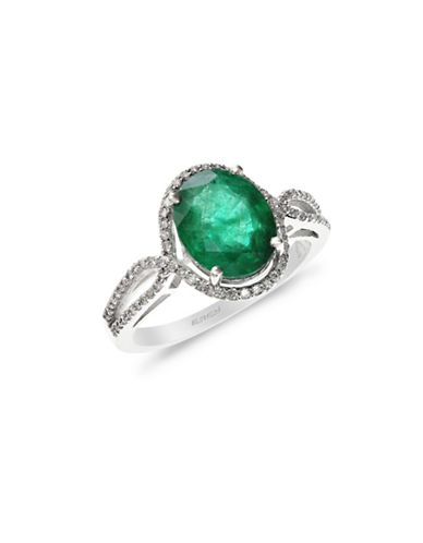 Effy 14K White Gold Emerald Ring with 0.24 TCW Diamonds-EMERALD-7
