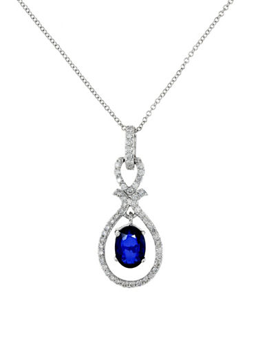 Effy 14K White Gold Diamond Natural Diffused Ceylon Sapphire Pendant Necklace-SAPPHIRE-One Size