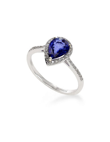 Effy 14K White Gold Diamond Natural Diffused Ceylon Sapphire Ring-BLUE-7